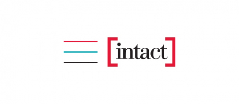The logo for Intact begins with a column of three lines: red, light blue, and black, which is followed by the word intact in red brackets.