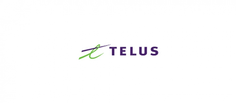 """The logo for TELUS is preceded by a green loop and a purple line through the loop to form the letter """"t""""."""